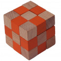 MIK Wooden Brain Teaser Magic Cobra Cube Orange
