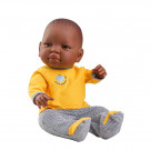 Paola Reina Bebita Africana Baby Doll Girl, 45cm yellow shirt