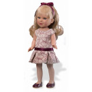 Vestida de Azul Paulina Doll, 33cm in beige and bordeaux dress