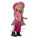 Vestida de Azul Paulina Doll, 33cm in Leopard print dress, vest and beret