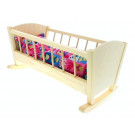 Wood Stork Wooden Doll Cradle With Bedding, 40cm natural
