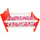 Wood Stork Wooden Doll Bed With Bedding, 43cm red