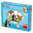 Dino Wooden Picture Blocks Mole, 6 cubes