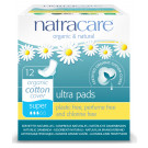 Natracare Organic Cotton Ultra Pads Super, 12 Pieces
