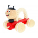 Greenkid Wooden Pushing Toy with Rope Ladybug Tammy