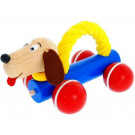 Greenkid Wooden Pushing Toy with Rope Dog Oscar
