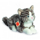 Teddy Hermann Soft toy grey cat lying, 30cm