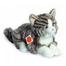 Teddy Hermann Soft toy grey cat lying, 30cm