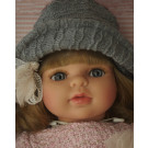 Berjuan Soft Doll Laura 2018 blonde in grey hat, 40cm