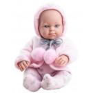 Paola Reina Mini Pikolin Baby Girl Doll, 32cm in pink coat