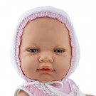 Marina & Pau Baby Girl Doll, 45cm in white hat