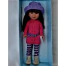 Vestida de Azul Paulina Doll, 33cm in purple hat
