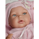 Antonio Juan Multi-positional Peke Baby Doll, 29cm with pastel pink blanket