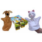 TOPA The Dog And The Cat Wooden Picture Blocks + Hand Puppet, 3 pieces