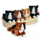 Teddy Hermann Soft toy Cat with sound, 18cm dark brown three colored
