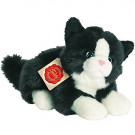 Teddy Hermann Soft toy cat black/white lying, 20cm