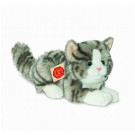 Teddy Hermann Soft toy grey cat lying, 20cm