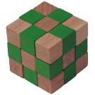 MIK Wooden Brain Teaser Magic Cobra Cube Green