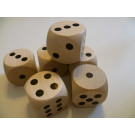 DETOA Wooden dice 25mm natural, 1pc