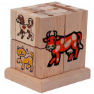 MIK Wooden Assembling Cube Farm Animals, 20 pieces