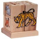 MIK Wooden Assembling Cube ZOO Animals, 20 pieces