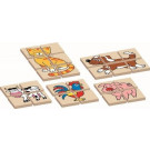DETOA Wooden Children Puzzle Animals, 12 pieces