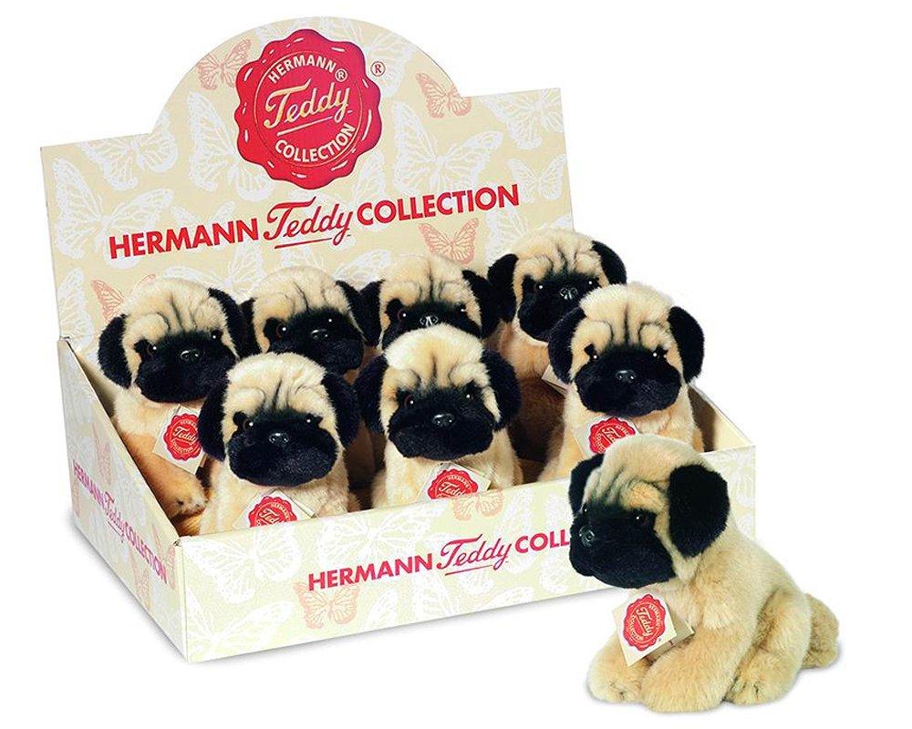 Realistic Pug Stuffed Animal, Teddy Hermann Soft Toy Dog Pug 15cm